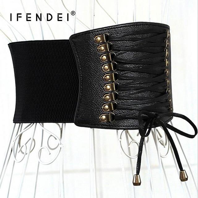 IFENDEI Luxury Leather Tassel Belts For Women's Skirt Dress Female Wide Elastic Waist Belt Cloth Accessories Black Red Corset