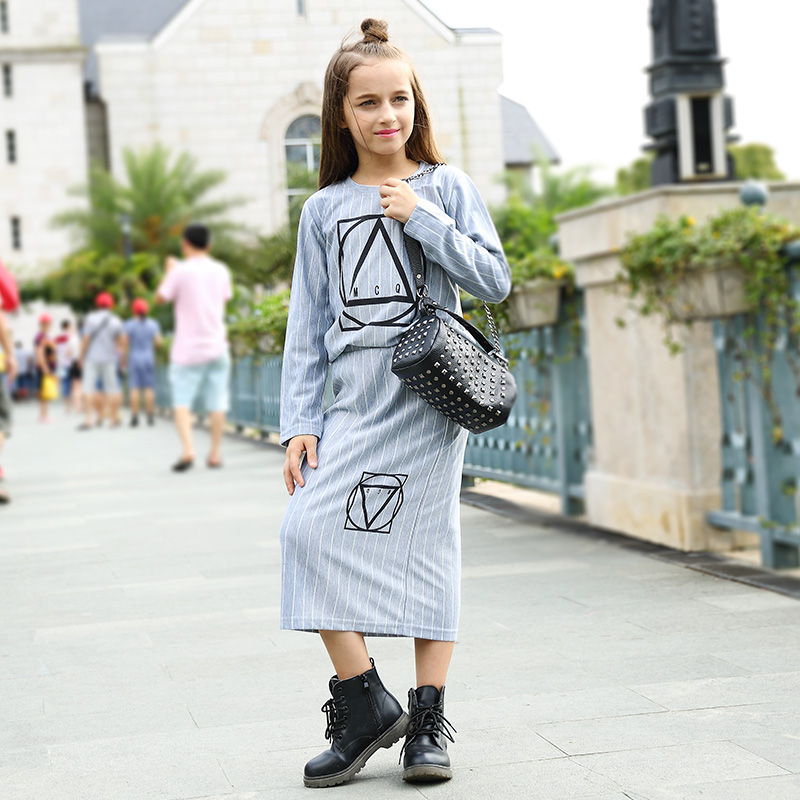 ФОТО Girl Clothes Sets 2pcs Blue Long Sleeve T-shirt+Dresses Autumn Spring New Arrival Girl Dress Patetrn Casual Fashion Style 295#