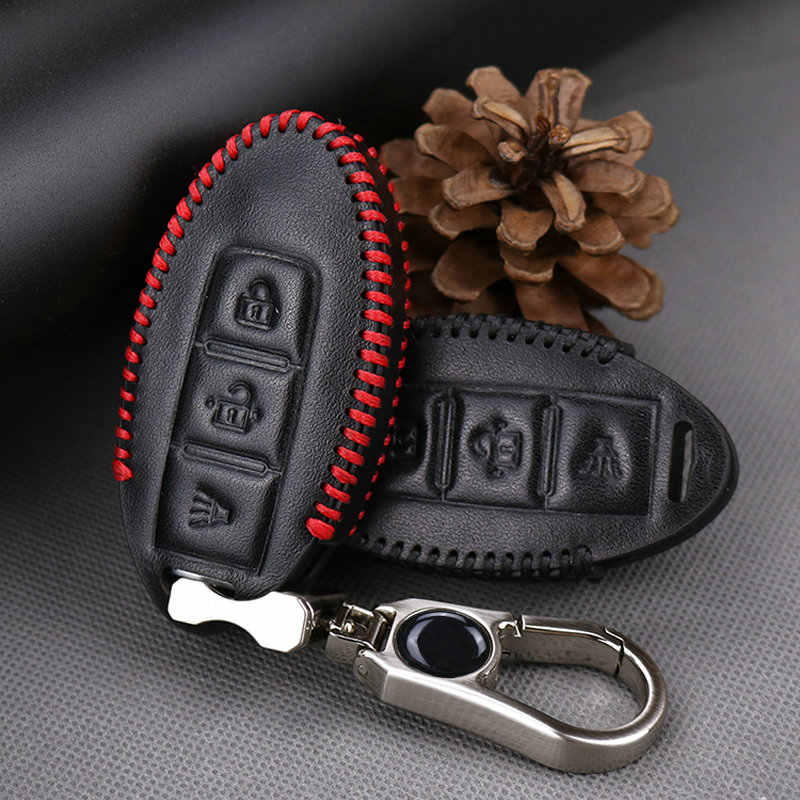 Dla Nissan klucz prawdziwej skóry klucz samochodowy smart cover Case dla Nissan x-trail T31 T32 Qashqai J11 Juke Tiida Almera uwaga Key ring