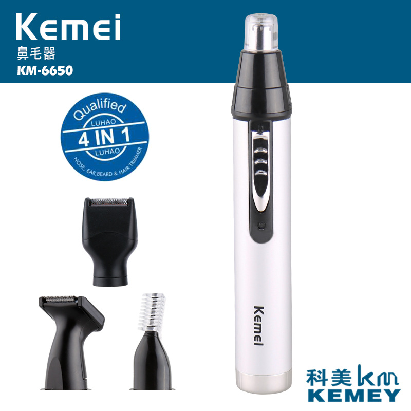T143 kemei 4 in 1 electric nose trimmer rechargeable men's ear nose hair cutter women face care beard shaver for nose & ear