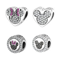 2016 Autumn New Arrival 925 Sterling Silver Beads Mickey Minnie Heart Charm Fits Original Pandora Charms Bracelet DIY Jewelry(China)