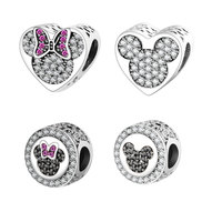 2016 Autumn New Arrival 925 Sterling Silver Beads Mickey Minnie Heart Charm Fits Original Pandora Charms