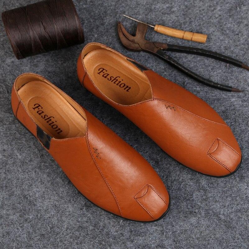 2019 De Mode 3 Mocassins Chaussures Hommes Conduite Red Cuir Slip Souple Marque Air Brown Nouveau on En Casual Véritable Sping Plein Homme 34AR5Ljq