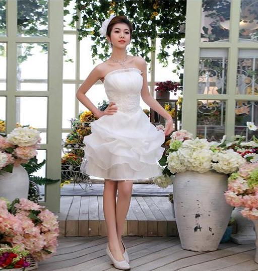 Fast Shipping 2019 New In Stock A-line Organza Cheap Discount Bridal Gown White Short Wedding Dress
