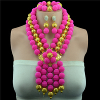 Multi layer Necklace Gold color Ball Rose Indian Nigerian Wedding Jewelry Sets Party African Beads Jewelry Sets