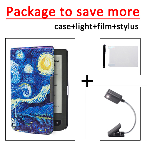 for Pocketbook 625 614 615 624 626 626 plus PU leather cover case +LED book light+ protective film+stylus