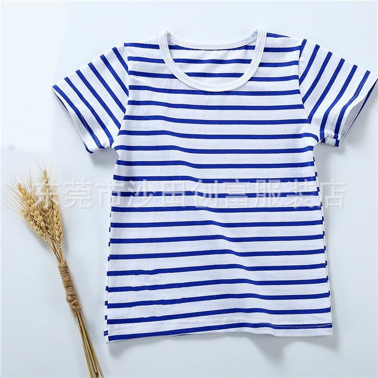2018 Children's Short Sleeved T-shirt, Boys Striped T-shirt, Girl's Children's Striped Bottoming Shirt, Summer Style Sleeves.