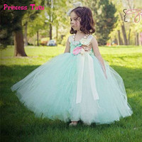 Handmade Mint Green Girl Tutu Dress Tulle Princess Flower Girl Dress Kids Wedding Party Bridesmaid Birthday Photograph Dresses