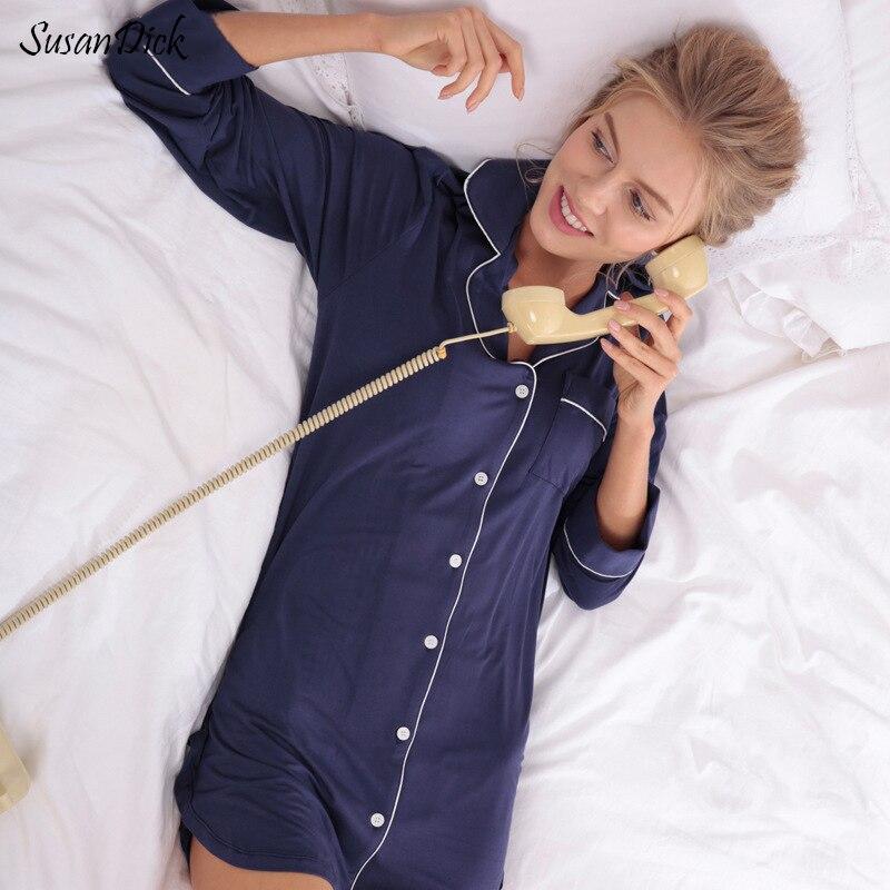 2017 Brand Autumn Winter Sleepwear & Sleepshirt Women Comfortable Modal Cotton Pijama Night Dress Ladies Elegant Sexy Nightwear