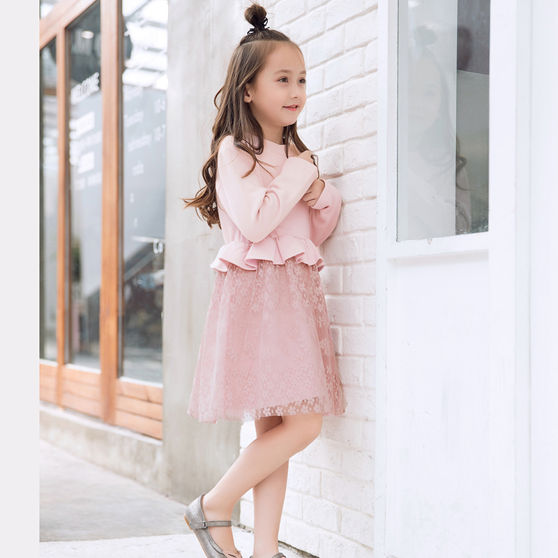 Girls winter dress autumn girl long-sleeve dress princess ball gown lace dresses for girls clothes lace long sleeve sheath pencil dress