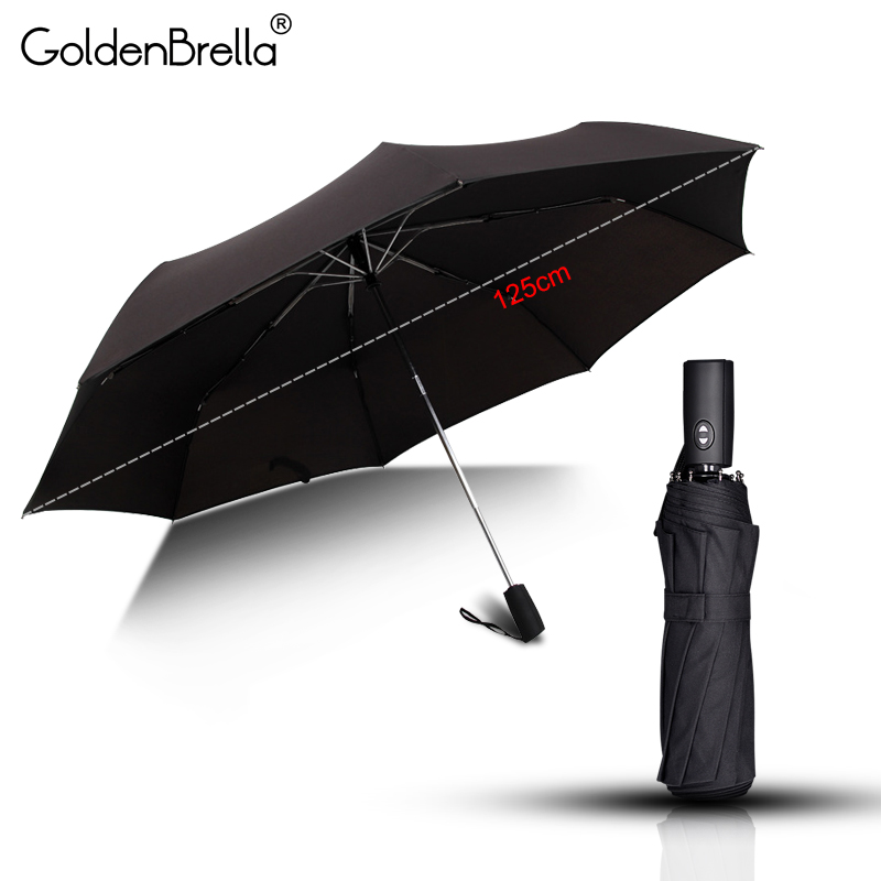 Brand Quality Automatic Umbrella Rain Women Man Wind Resistant 3Folding Large 125cm 8Rib Windproof Gift Golf Car Men Umbrella