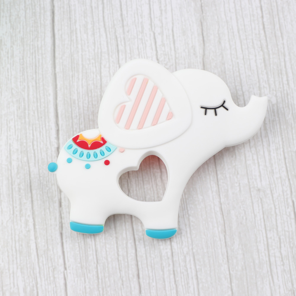 TYRY.HU Carton Elephant Baby Teether Chew Rodent Food Silicone Teething Soother Accessories Animal Teethers