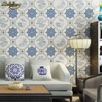 Beibehang Neue Chinesische klassische tapeten wohnzimmer studie teehaus TV hintergrund vintage blau und weiß porzellan tapete