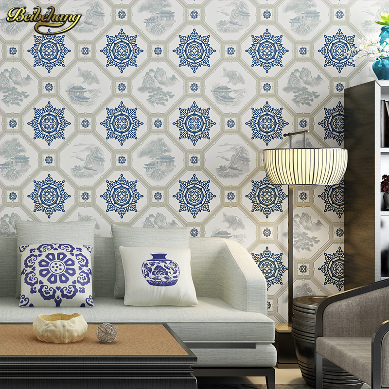 beibehang New Chinese classical wallpapers living room study teahouse TV backdrop vintage blue and white porcelain wallpaper