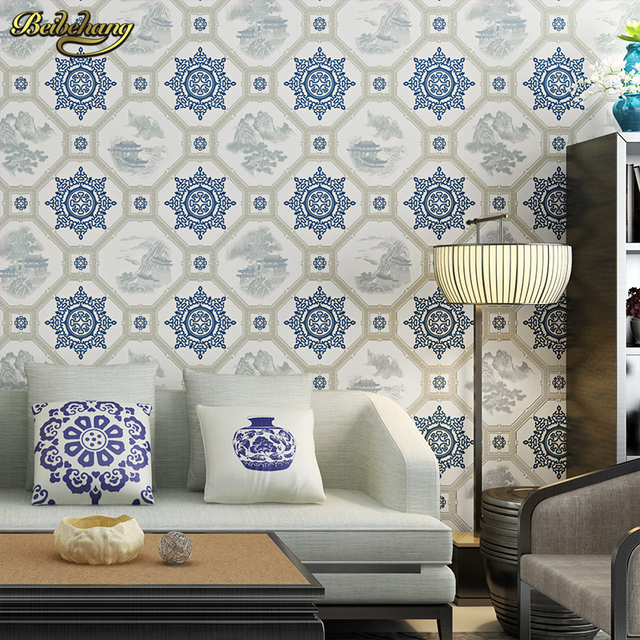 Beibehang New Chinese Classical Wallpapers Living Room Study Teahouse TV Backdrop Vintage Blue And White Porcelain