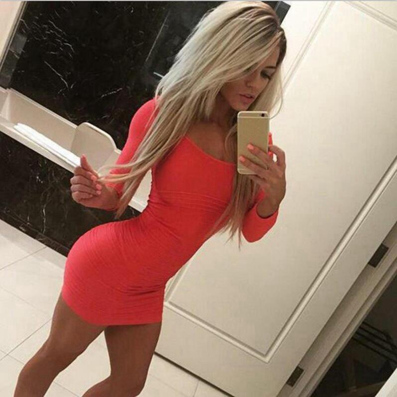 2016 elegant sexy tight long-sleeved solid color rendering package hip nightclub dress plus size vestidos - Kim Rae Shopping store