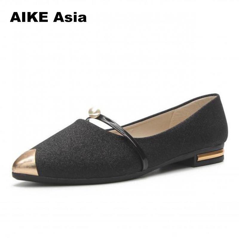 Printemps Confortable Asie Nouvelles Décontracté Chaussures silver Plates Dames Aike Shoessandals D'été Paillettes Pointu 2018 Black Bout Femmes Tissu gold wESdzxq