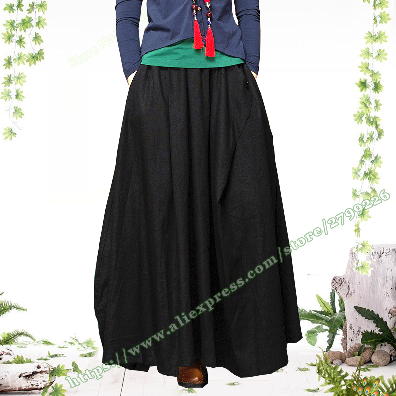 2018 Plus Size 6XL 5XL 4XL Solid Black Cotton Linen Casual Retro Woman Maxi Skirt designs