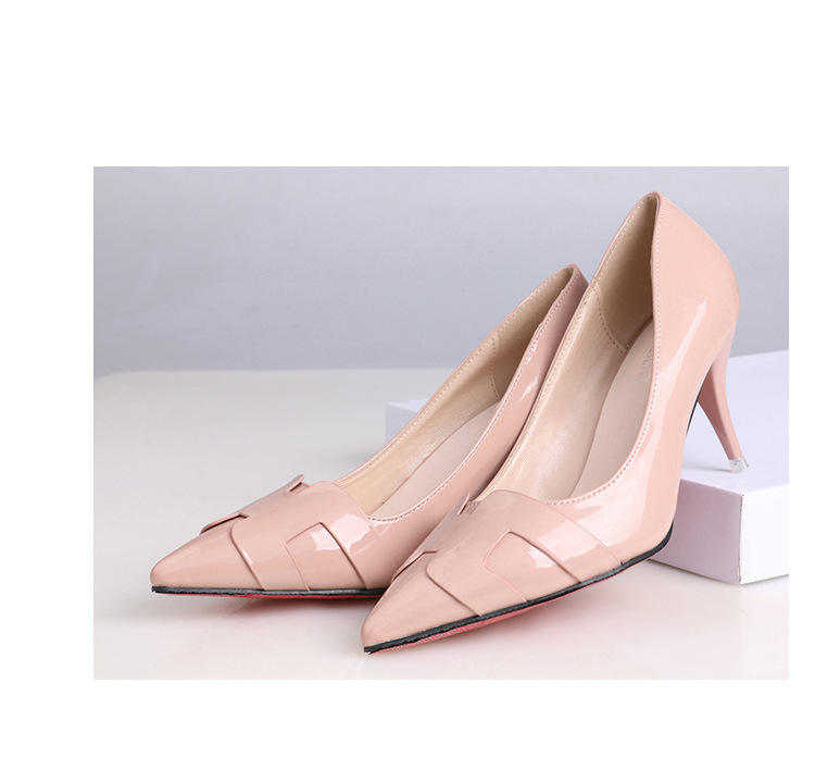 2019 new arrival Pointed Toe Office Solid Flock High Heels brown and black color