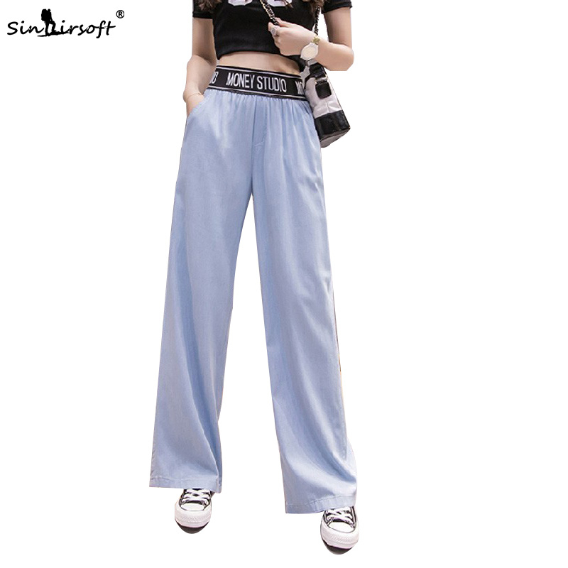 Women Tencel Wide Leg Pants Woman High Elastic Waist Casual Loose Full Length Trousers Summer Comfortable Thin Sky Blue Jeans in Pants amp Capris from Women 39 s Clothing