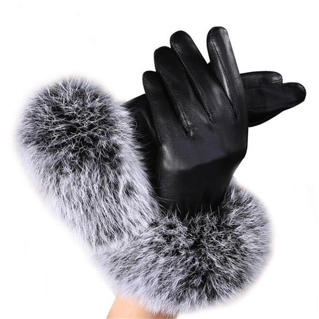 Women Warm Hand Gloves with Genuine Rabbit Fur PU Leather for Winter Autumn