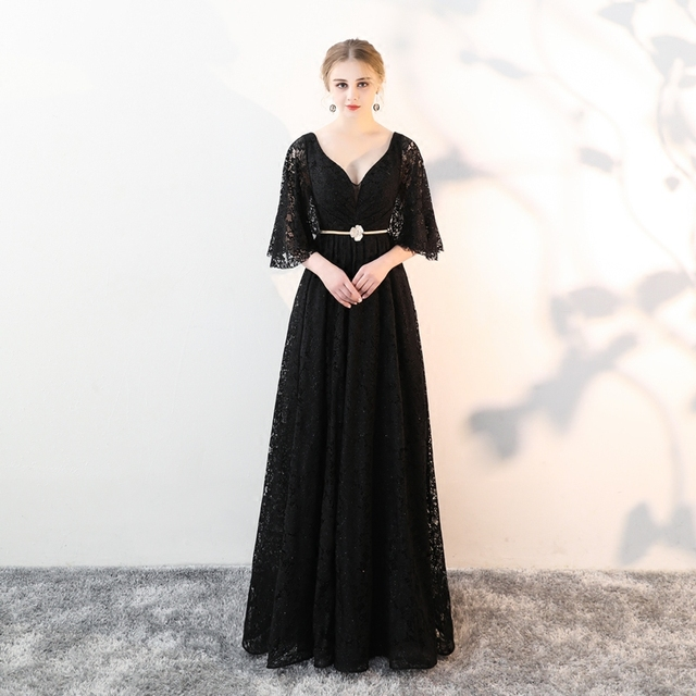 a07993edbeca ... Soiree Long Vestido De Festa Longo. WeiYin Custom Made Elegant V-Neck Black  Winter Evening Dresses Lace Half Sleeve Robe De