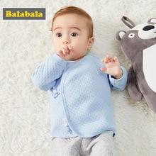 Balabala/мягкие хлопковые рубашки с длинными рукавами и завязками сбоку для новорожденных мальчиков и девочек, футболка с застежкой на кнопки