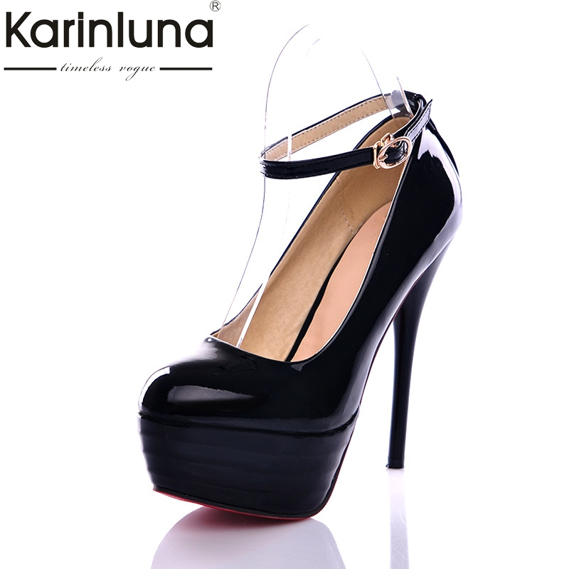 KarinLuna 2018 Spring Autumn Super High Thin Heels Pumps Platform Shoes Woman Plus Size 32-44 Women Wedding Party Shoe siketu 2017 free shipping spring and autumn women shoes sex high heels shoes wedding shoes sweet lovely pumps g126