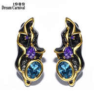 DC1989 Free shipping 2016 Fantastic Special design Gold Black Plated Cubic Zirconia Copper Stud earrings for women (E09)