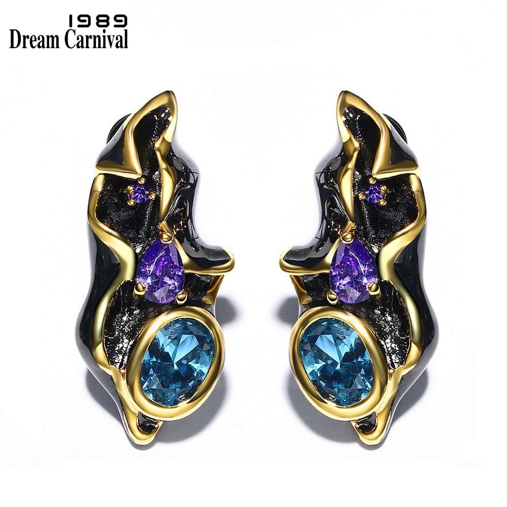 DreamCarnival 1989 Fantastic Blue CZ Earrings Women Black Gold Color Elegant Engagement Vintage Jewelry Deluxe Boucle D'oreille