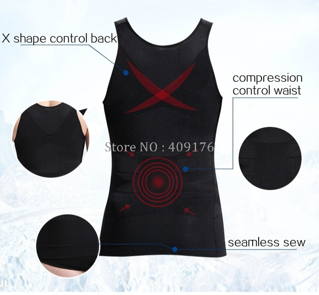Slimming Shaper PRAYGER 2pcs Men Gynecomastia Control Belly Tops Tummy Trimmer UnderShirts X Support Back Body Vest 4