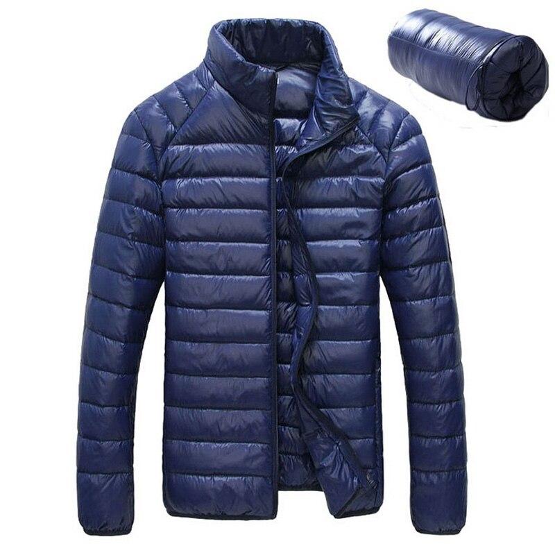 Новинка 2017 года Для мужчин зимняя куртка Ultra Light 90% Белые куртки-пуховики Повседневное Портативный зимнее пальто для Для мужчин плюс Размеры Подпушка Мужские парки