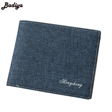 Men Short Wallets Solid Demin Clutch Luxury Bifold Bag Brief Design Wallet New Canvas Male  Thin Money Clip Card ID Holders