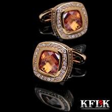 KFLK Jewelry shirt cufflinks for mens Gift Brand cuff buttons Crystal cuff link gold High Quality abotoaduras Free Shipping