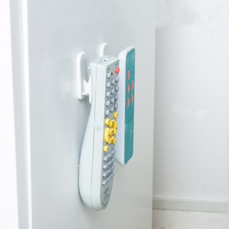 4pcs/2set Sticky Hook TV Remote Control Air Conditioner Holder Self Adhesive Plastic Storage Rack Organizer Storage Stand Holder