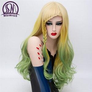 Image 5 - MSIWIGS Peluca de pelo largo con trenzas para mujer, cabello ondulado, trenzado sintético, arcoíris, Morado, azul y rosa