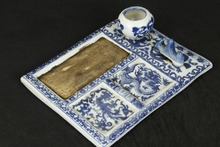 CHINESE JINGDEZHEN PORCELAIN PAINTING QING DYNASTY QIANLONG DRAGON WORD INKSTONE 10 inches chinese zhaoqing duan yan ink stone carved dragon inkstone calligraphy painting tool 12635