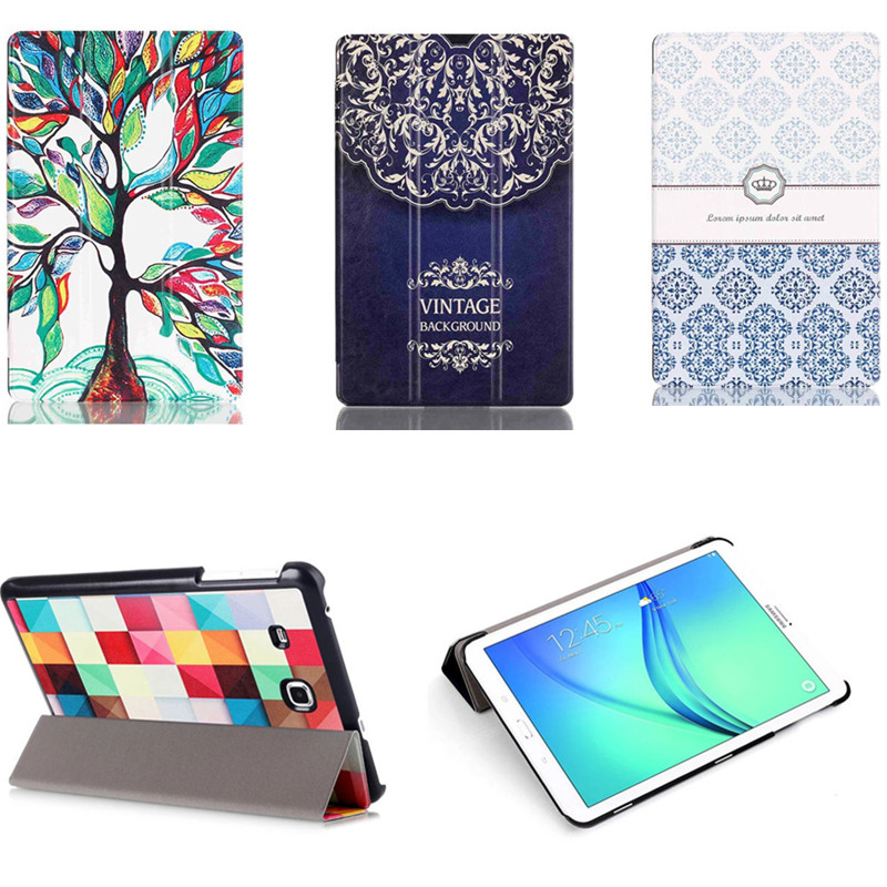 CY-Painting SM-T560 Color Painted Magnetic Stand pu Leather case cover For Samsung Galaxy Tab E 9.6 inch T560 T561 Tablet cases bf luxury tablet case for samsung galaxy tab e 9 6 sm t560 sm t561 t560 t561 pu leather flip cute book stand cover protector
