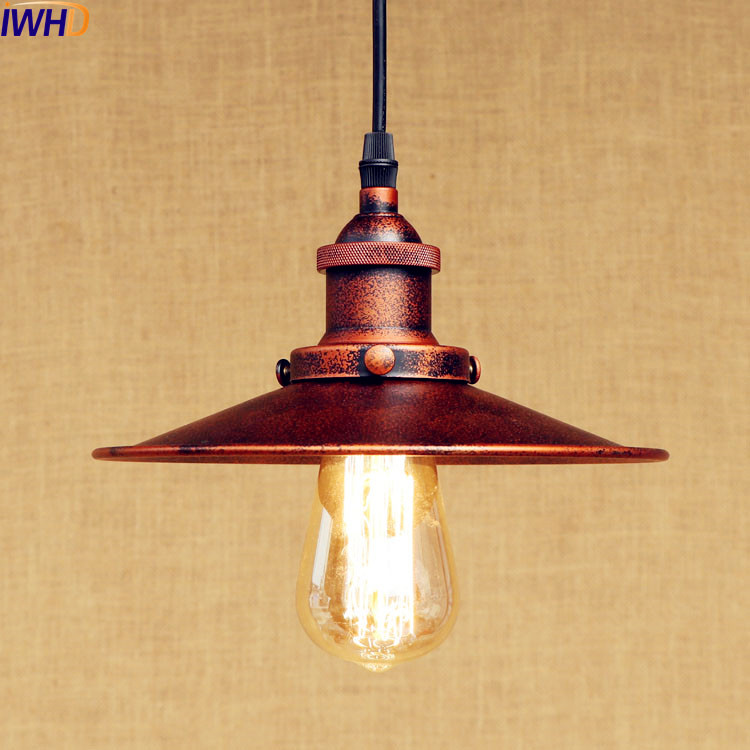 IWHD Rustic Vintage Pendant Lamp LED Edison Light Style Loft Industrial Lighting Fxiture Hanging Lights Lampen American iwhd american edison loft style antique pendant lamp industrial creative lid iron vintage hanging light fixtures home lighting