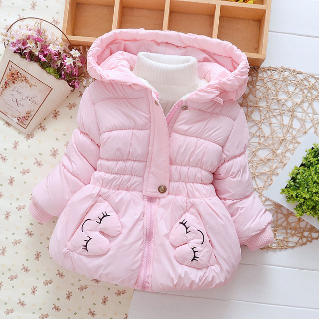 2016 children winter coat for girls hooded jacket kids thick clothes child warm thermal outerwear padded coats rabbit