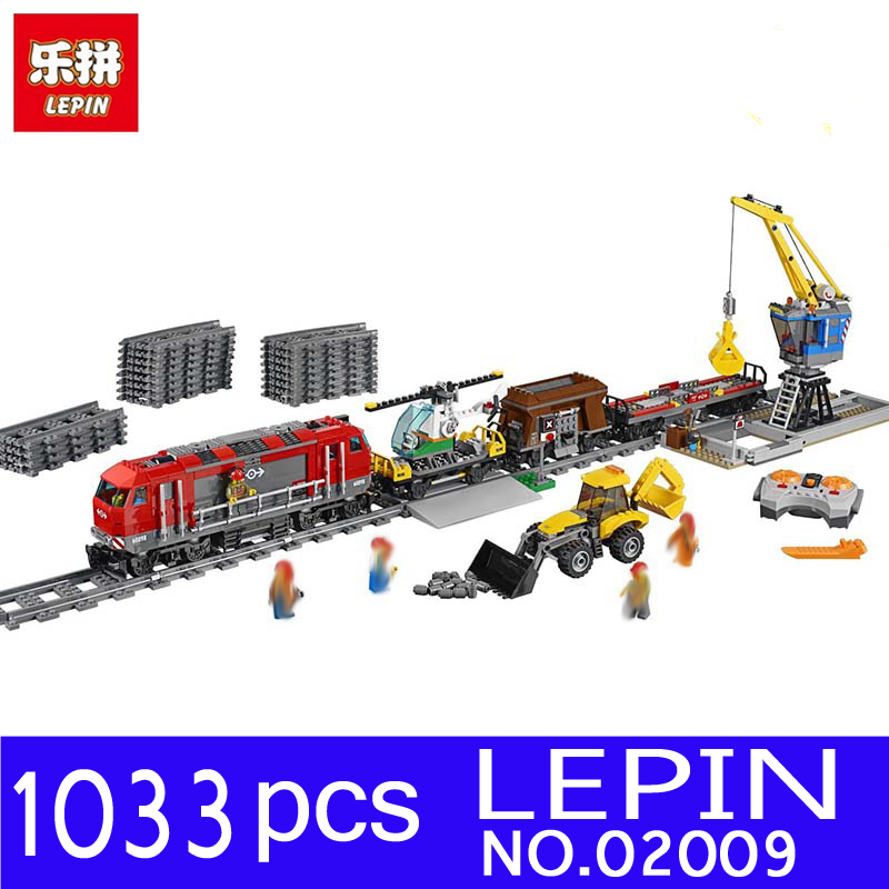 LEPIN 02009 02039 1033pcs City Series Train Engineering Vehicle Kits Building Blocks Bricks for Children Toys Compatible 60098 0367 sluban 678pcs city series international airport model building blocks enlighten figure toys for children compatible legoe
