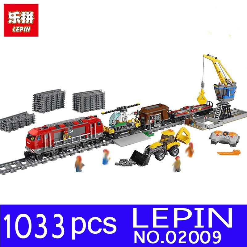 LEPIN 02009 1033pcs City Series Train Engineering font b Vehicle b font Kits Building Blocks Bricks