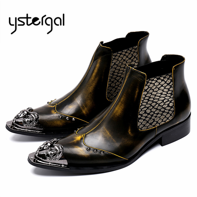 YSTERGAL Metal Pointed Toe Bronze Ankle Boots Mens Chelsea Boots Slip On Botas Hombre Cowboy Military Boots Men Dress Shoes fashion pointed toe lace up mens shoes western cowboy boots big yards 46 metal decoration page 8