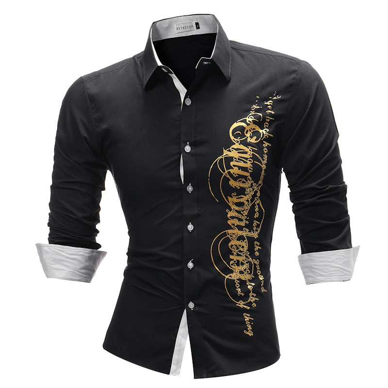 Brand 2018 Fashion Male Shirt Long Sleeves Tops Letter ...