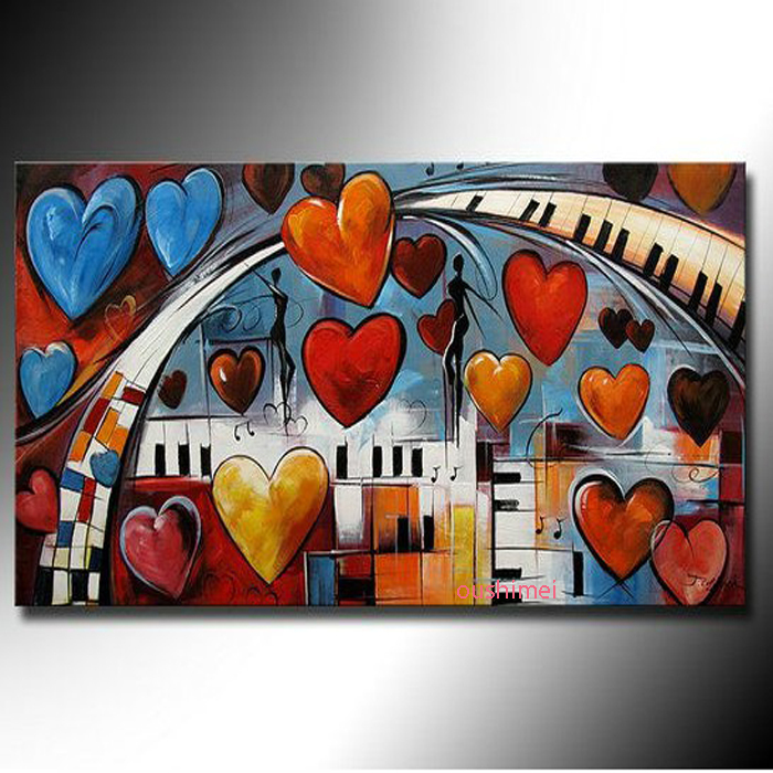 Hand Painted For Living Room Oil Painting On Canvas Style Of Abstract Art Music Theme Romantic