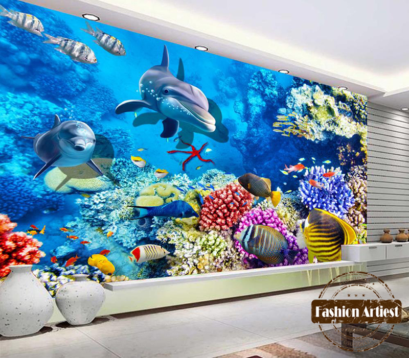 Ocean wallpaper picture more detailed picture about for 3d aquarium wallpaper for bedroom
