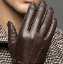 YY 8597 Male 2018 Spring/Winter Real Leather Short Thin/Thick Black/Brown Touched Screen Glove Man Gym Luvas Car Driving Mittens