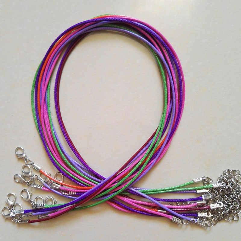 Fecho da lagosta 1.5mm 100 pc Cera mista Cordão de Couro colar de pingente de corda 45 cm pingentes jóias diy Frete grátis atacado