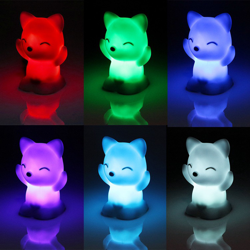 Lovely Fox Shape Colorful LED Night Light Decoration Lamp 7 Changing Colors Birthday Gift Home Decoration#X