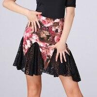 Latin Dance Skirt Women Fashion Print Lace Skirts Ladies Salsa Cha Cha Rumba Samba Dancing Clothes Latin Practice Wear DNV11154
